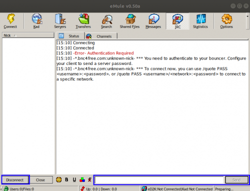 Screenshot of the IRC tab in the main window highlighting the connect button and text box