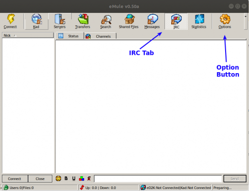 eMule screenshow showing the main window indicating the IRC tab and options button